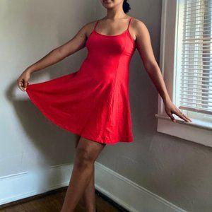 Red tie back cotton spandex dress
